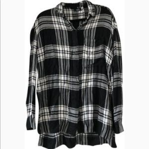 BDG UO Flannel Tunic Button Down Black/Off White
